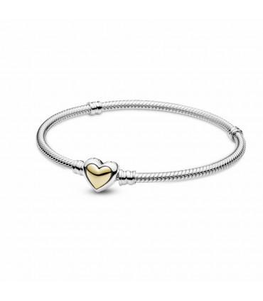 Pulsera Cadena de Serpiente Corazón Cúpula Dorada Pandora - 599380C00