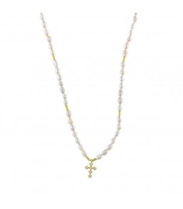 Collar de Perlas con Cruz Dorada - 213C0095